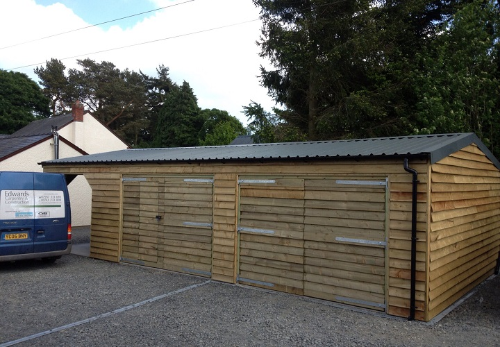 New Build Double Garage with Log Shed